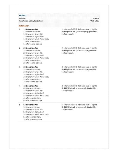 İşlevsel özgeçmiş referans sayfası