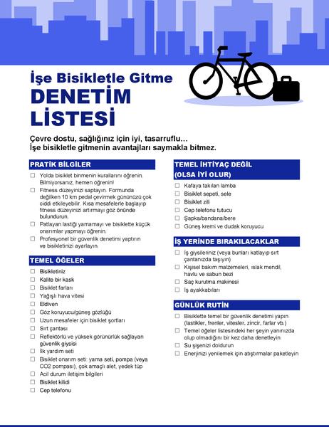 Bisikletle işe gidiş geliş denetim listesi