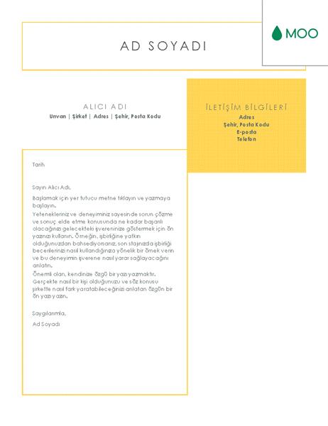 Şık ve temiz bir kapak mektubu, MOO tarafından tasarlandı