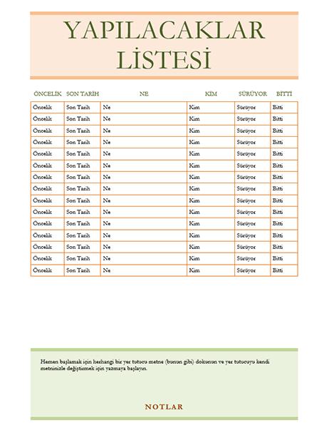 Yapılacaklar listesi