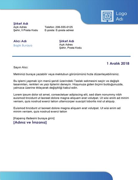 İş mektubu (mavi kenarlık ve renkli gradyan)