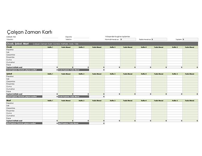 Çalışan zaman kartı (günlük, haftalık, aylık ve yıllık)