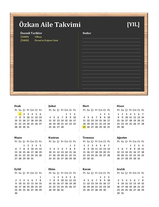 Aile takvimi (herhangi bir yıl, Pzt-Paz)