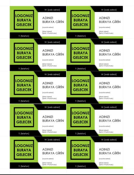 Kalın logolu kartvizitler (sayfa başına 10 adet)