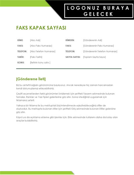 Kalın logolu faks kapak sayfası