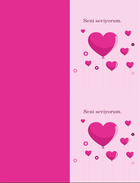 Kalpli balonlar Sevgililer Günü kartı
