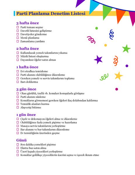 Parti planlama denetim listesi