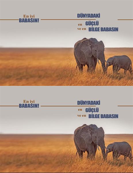 Bilge fil Babalar Günü kartı