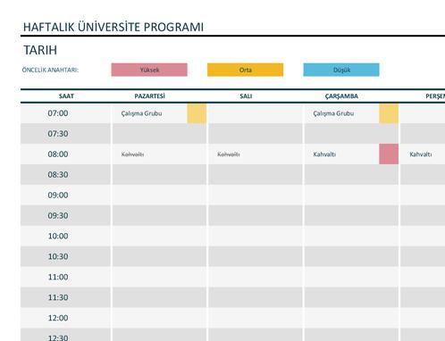 Haftalık üniversite programı