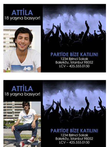 Parti davetiyeleri (siyah üzerine mavi)