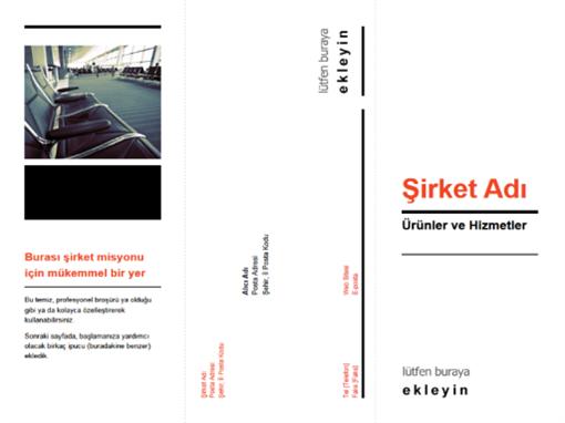 Üçe katlı iş broşürü (siyah, kırmızı tasarım)