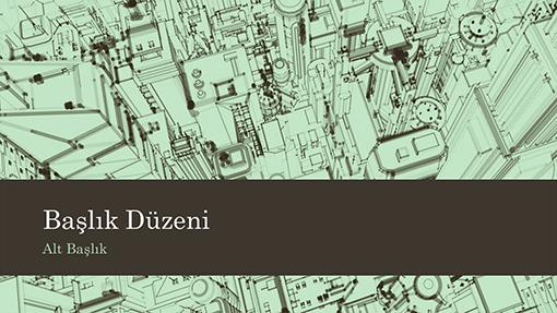 Ofis binalarını gösteren şehir krokisi sunu arka planı (geniş ekran)