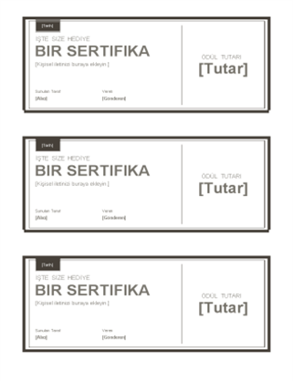 Hediye sertifikaları