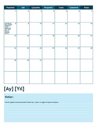 Bir aylık akademik takvim (Pazartesi başlangıçlı)