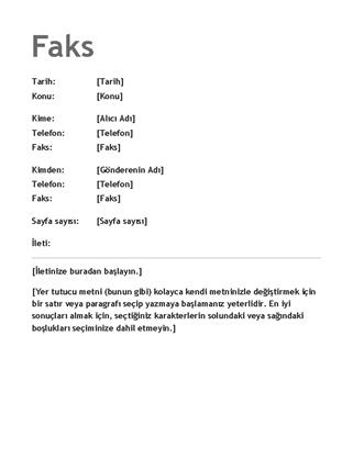 Faks kapak sayfası