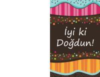 Doğum günü kartı - noktalar ve şeritler (çocuklar, ikiye katlı)