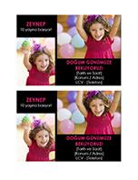 Doğum günü partisi davetiye kartpostalı