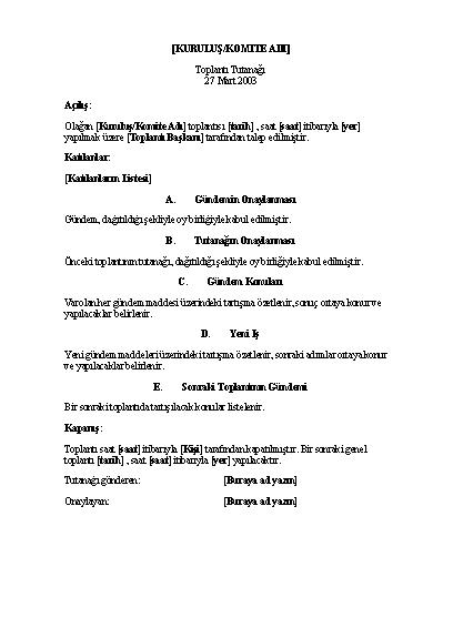 Kuruluş toplantısı tutanağı (uzun form)