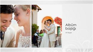 Düğün fotoğrafı albümü, gümüş barok tasarım (geniş ekran)