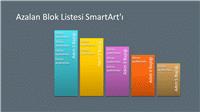 Azalan Blok Listesi SmartArt Slaydı (gri üzerinde çok renkli), geniş ekran