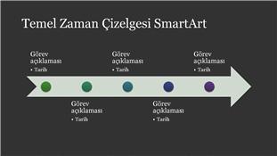 Temel Zaman Çizelgesi SmartArt (koyu gri üzerinde beyaz), geniş ekran