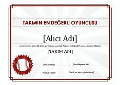 Takımın en değerli oyuncusu sertifikası