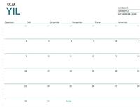 Herhangi bir yıl için not eklenebilen bir aylık takvim