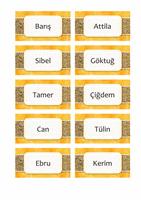 Ad ve yer kartları (güneş ve kum tasarımı, 10/sf)