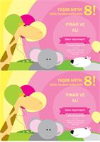 Doğum günü davetiyesi (çocuk tasarımı, her sayfada 2 adet)