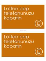 Cep telefonu kapatma anımsatıcı posteri (turuncu)