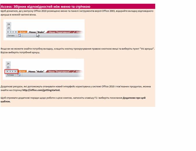 Програма Access 2010: збірник відповідностей між меню та стрічкою