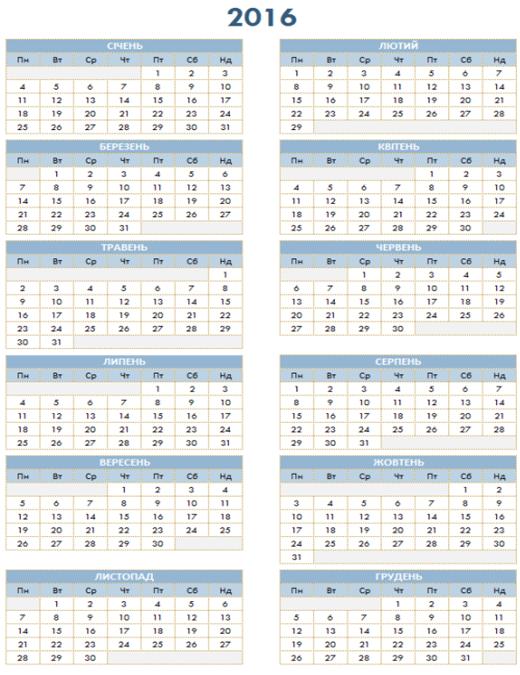 Річний календар на 2016–2025рр.