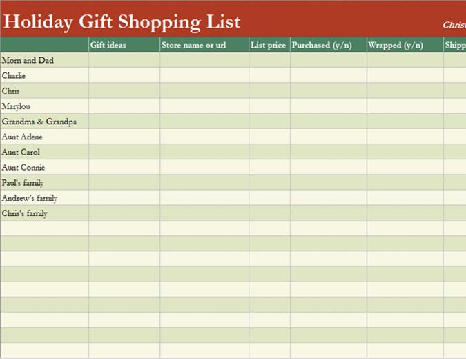 Список покупок для подарунків
