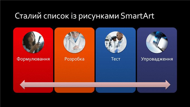 Різнокольоровий на чорному тлі слайд SmartArt зі сталим списком із рисунками (широкоформатний)