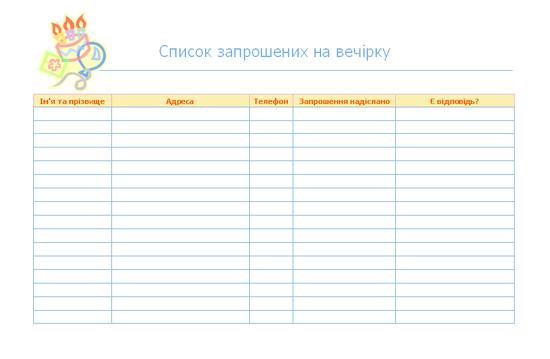 Список запрошених на вечірку