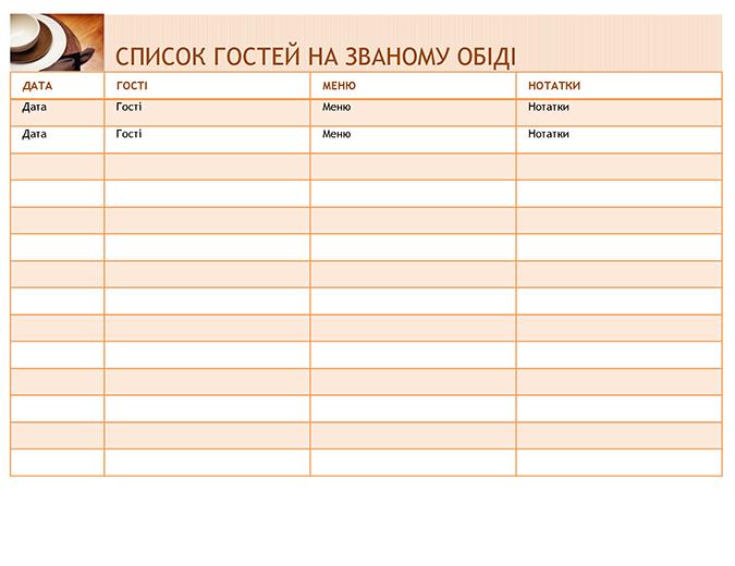 Список гостей на званому обіді разом із меню