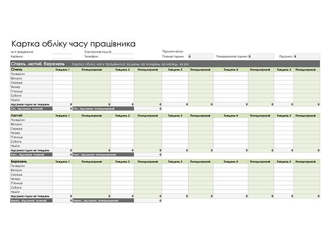 Картка обліку часу працівника (щоденного, щотижневого, щомісячного й щорічного)