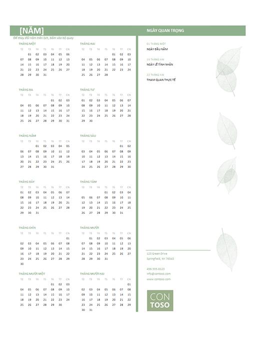 Lịch doanh nghiệp nhỏ (năm bất kỳ, T2-CN)