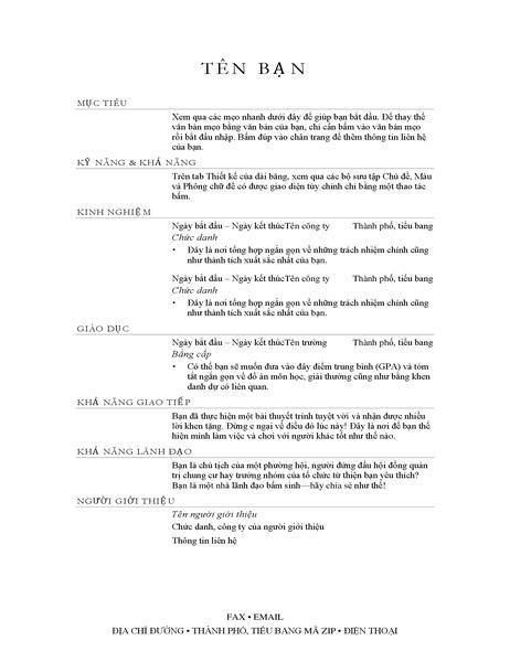 Sơ yếu lý lịch của giám đốc bán hàng (thanh lịch)