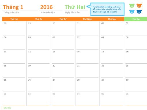 Lịch tháng của bất kỳ năm nào (12 trang, thiết kế Gấu Cầu vồng)