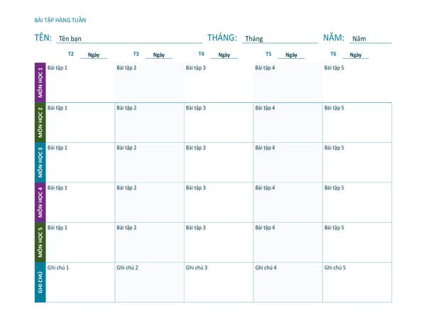 Trang tính bài tập hàng tuần (màu, khổ ngang)