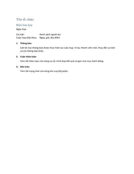 Biên bản họp (biểu mẫu ngắn)