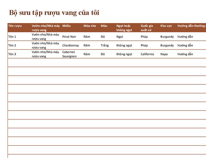 Danh sách bộ sưu tập rượu vang