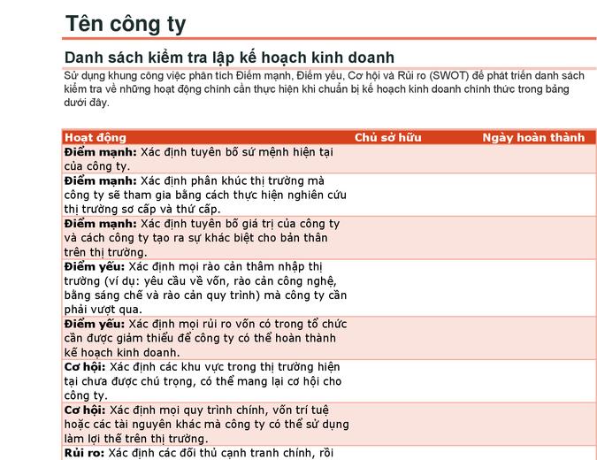 Danh sách kiểm tra kế hoạch kinh doanh với phân tích SWOT