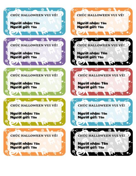 Nhãn Halloween (10 trên mỗi trang)