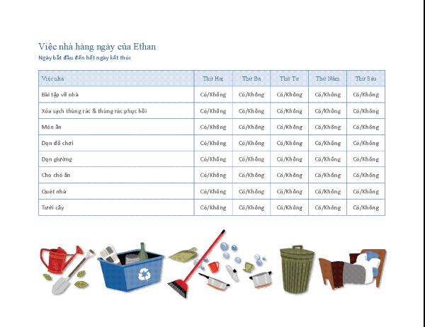 Danh sách kiểm tra việc nhà của con cái