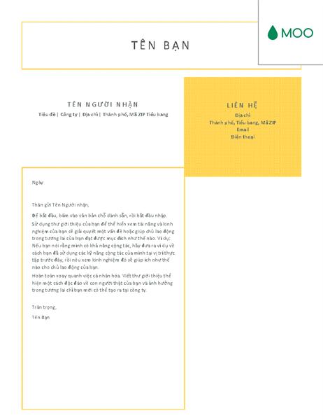 Thư giới thiệu ngắn gọn và súc tích, do MOO thiết kế