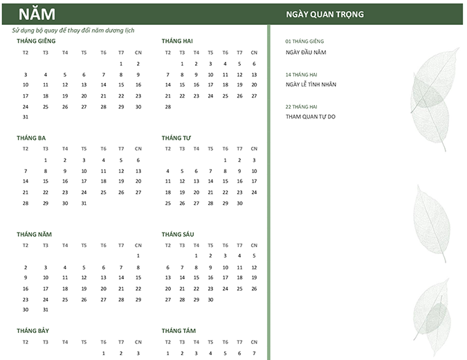 Lịch làm việc (năm bất kỳ, CN-T7)