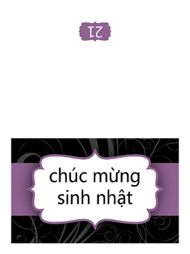 Thiệp sinh nhật (Thiết kế Ruy-băng Màu tím, gấp đôi)