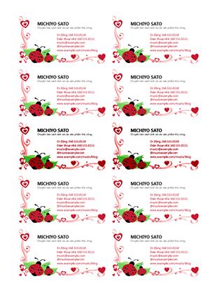 Danh thiếp (bọ rùa và trái tim, căn trái, 10 danh thiếp mỗi trang)